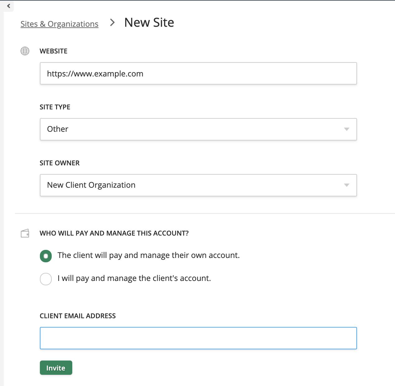 client site details