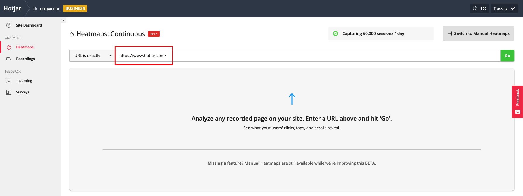 screenshot of Heatmap search bar