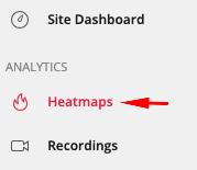 screenshot showing where Heatmap appears on the Hotjar dashboard