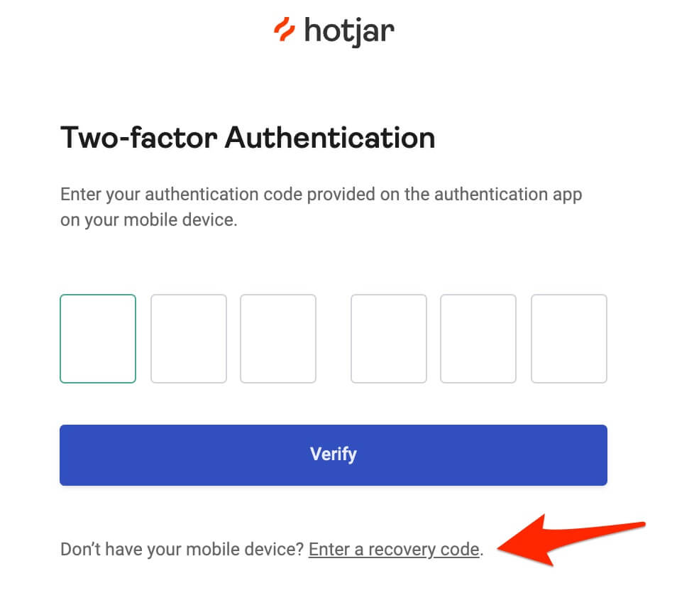 login with recovery code button for 2FA
