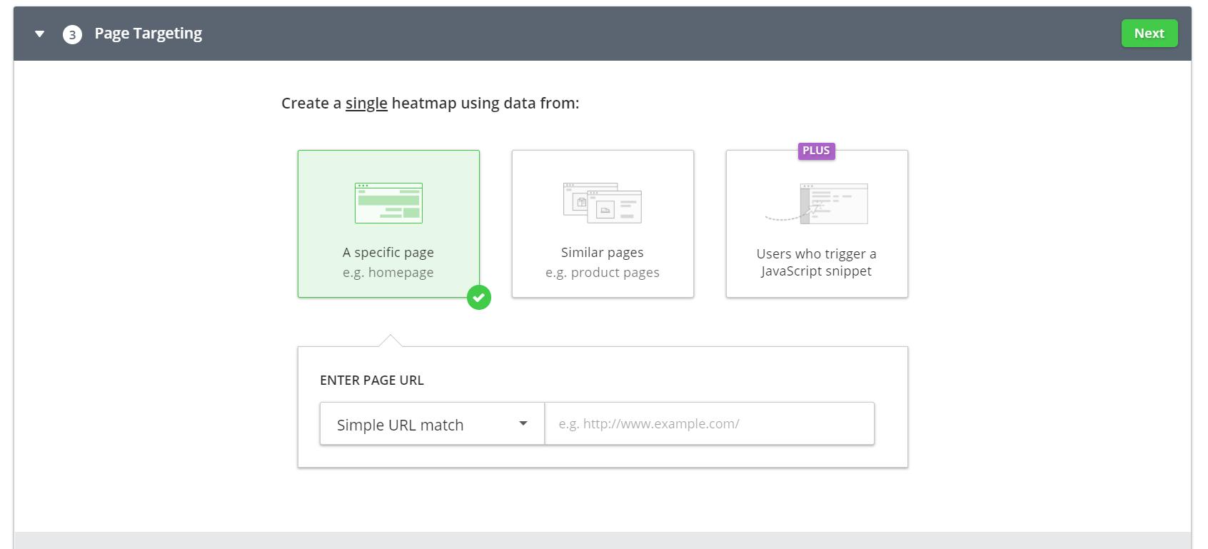 manual heatmap page targeting menu
