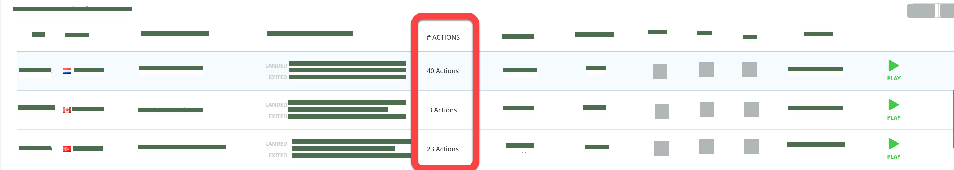 #Actions appears as a column in the Recordings playlist
