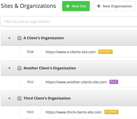 Sites and Organizations page with two Sites on a Business plan and one on a Plus plan