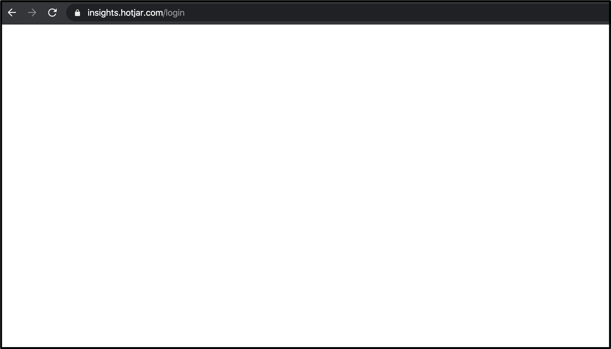 Example of a blank page after log in
