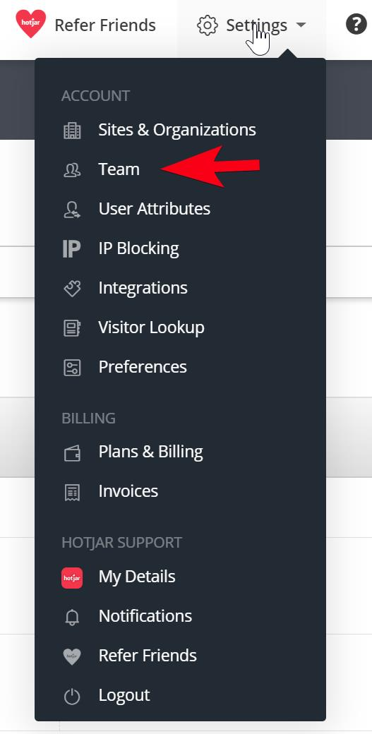 menu page showing settings drop-down and arrow pointing to team