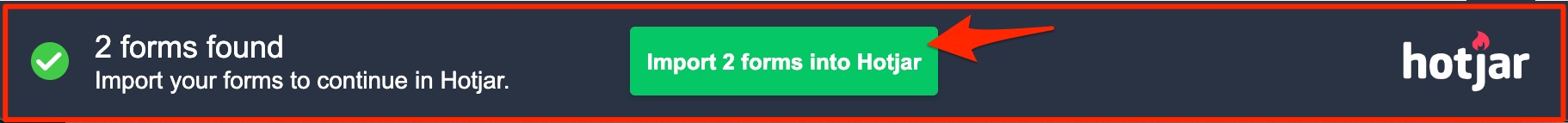 Screenshot of the Form Finder banner on your targeted page.