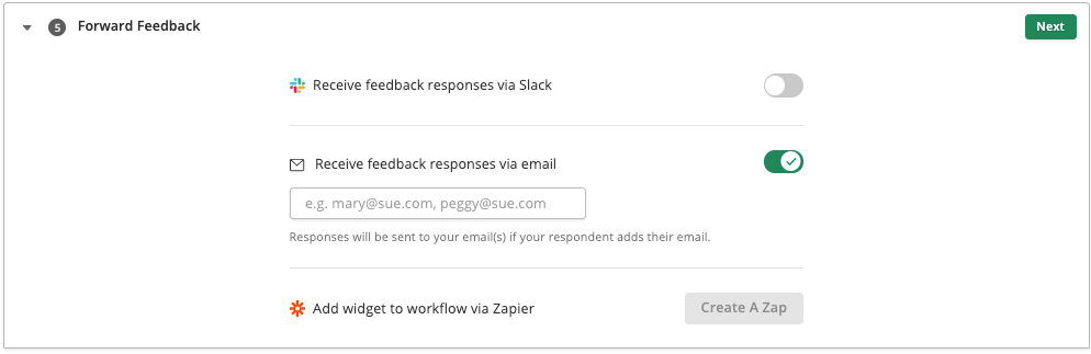 screenshot of Forward Feedback settings