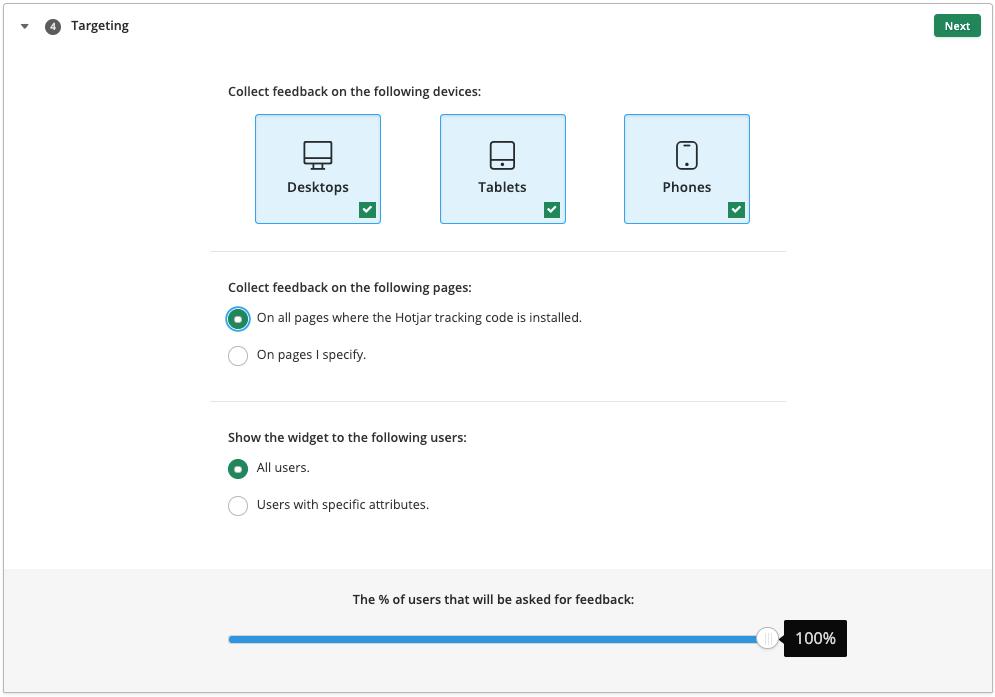 screenshot of targeting configurations