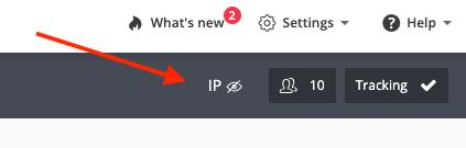 IP blocked icon on the Hotjar dashboard