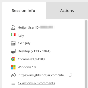 Session information appears on the right hand-pane. It shows both default information Hotjar captures, as well as Tags, and User Attributes (when available)