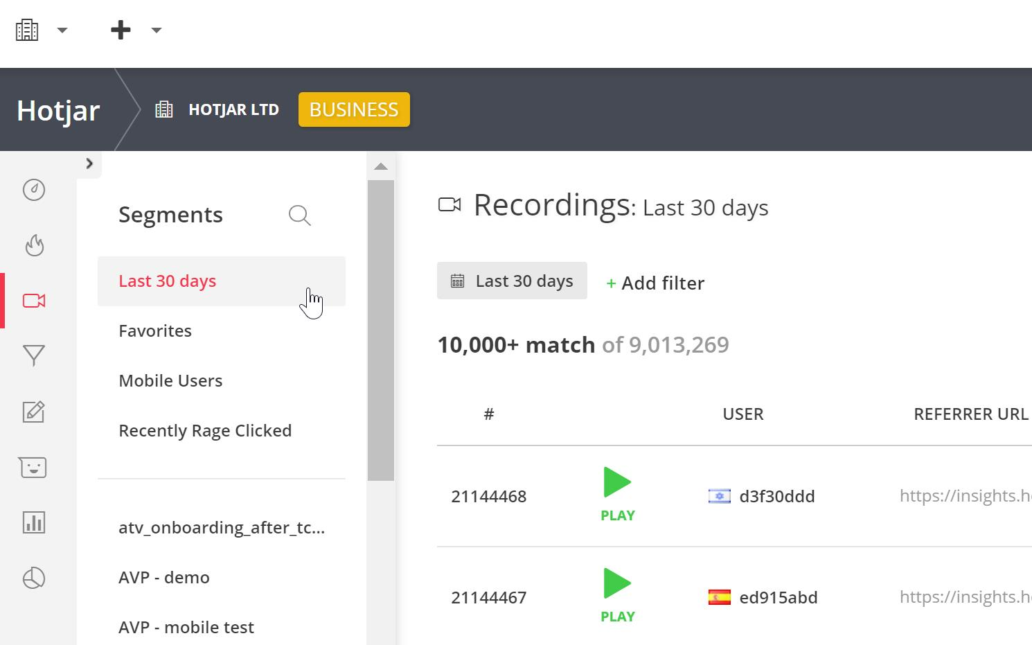 The Segments list appears as a list in the main Recordings playback dashboard.
