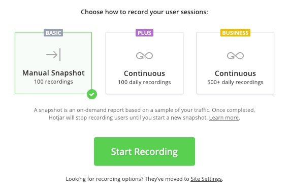 Basic plans have Snapshots of 100 Recordings, Plus Plans, 2000, and Business 89 plans, of 5000. Business plans higher than 89 a month capture recordings continuously
