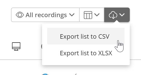 The third, cloud shaped icon in the list. Clicking on it has a dropdown where you can export the list to CSV or XLSX.
