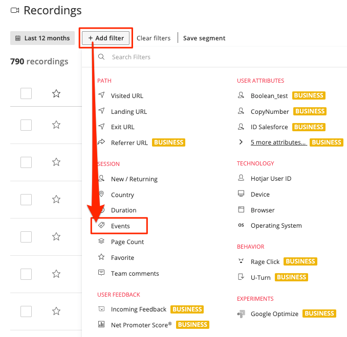 Image showing the location of the Events filter on the Recordings list page.