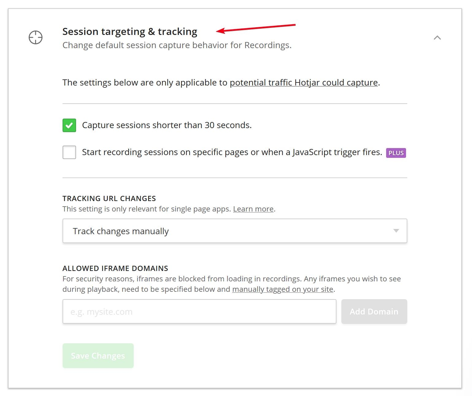Session targeting and tracking is the 3rd section down in the Site settings section list.