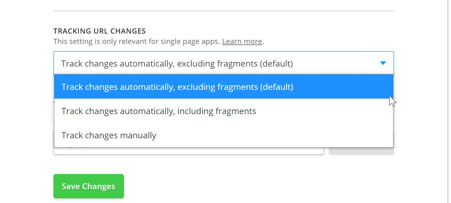 The dropdown has 3 options: Track changes automatically, excluding fragments, track changes automatically including fragments, and track changes manually