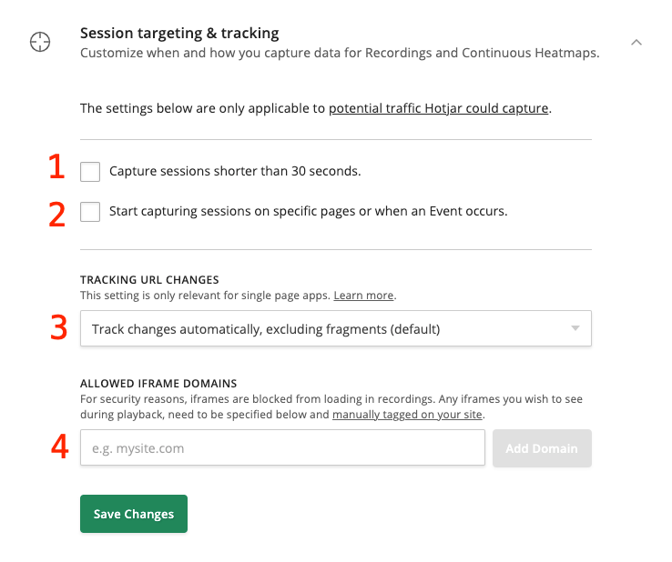 There are 4 settings. The first two are checkboxes, the 3rd is a dropdown, and the 4th provides user input fields for adding allowed iframe domains.