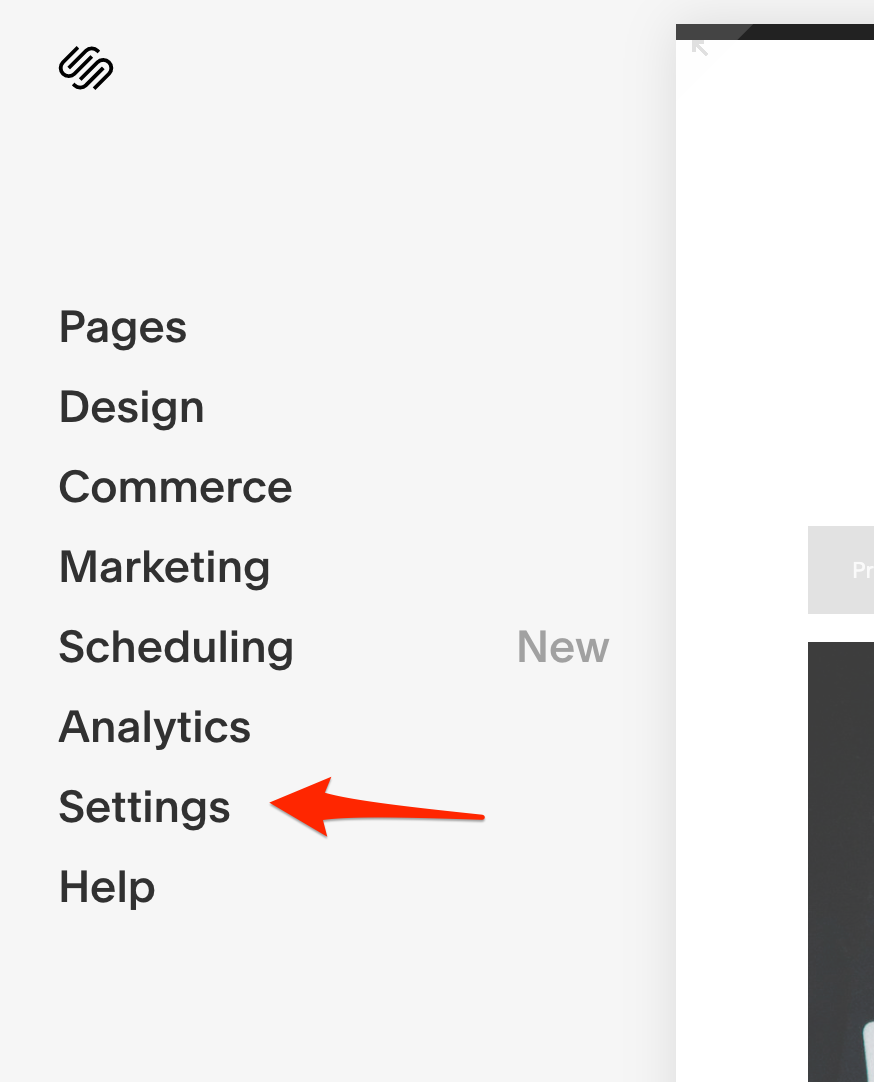 Go to the SquareSpace dashboard to find the Settings tab.