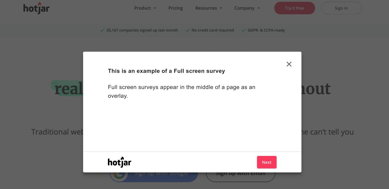 Screenshot example of Full Screen Survey on desktop
