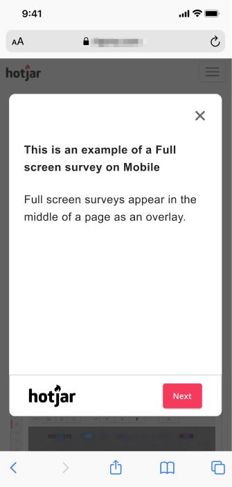 Screenshot example of Full Screen Survey on mobile