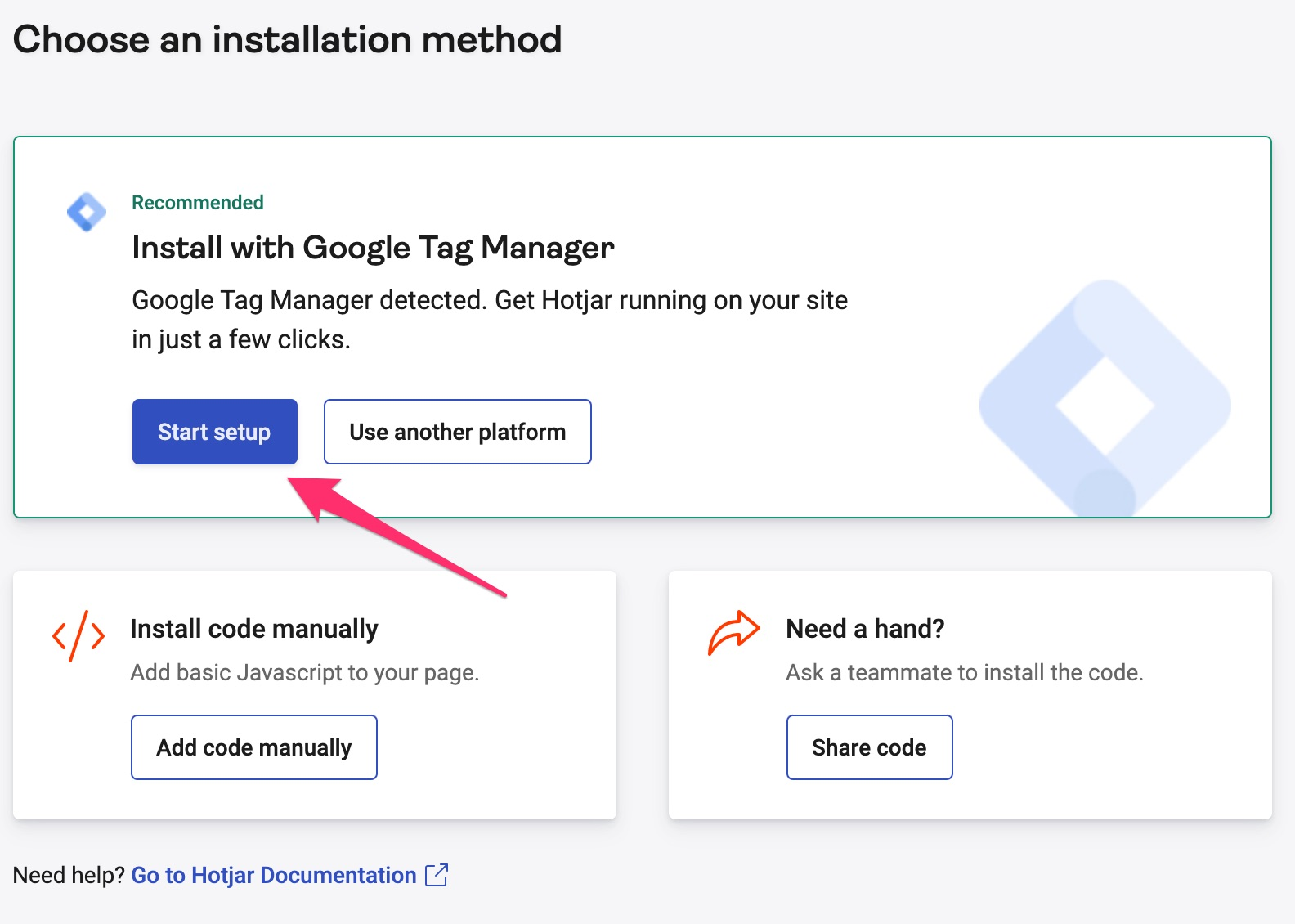 The Start setup button to begin installation with Google Tag Manager